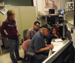 Dawn Pape, Chris Cline, Sylvia-Monique Thomas and our collaborator, Don Weidner at the X17B2 beamline at the National Synchrotron light source.